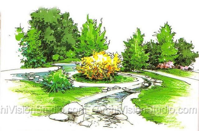 Landscape rendering pictures to pin on pinterest pinsdaddy for Landscape plan rendering