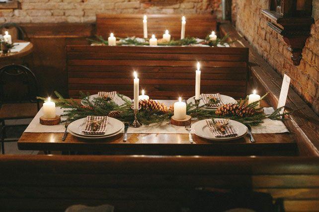 Новогодняя свадьба, свечи на столе - The-wedding.ru