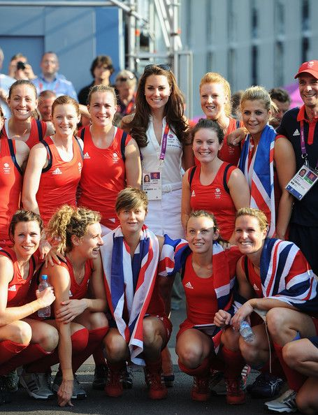 Duchess of Cambridgeposes with Team GB after their Women's Hockey bronze medal match against New Zealand. August 10, 2012