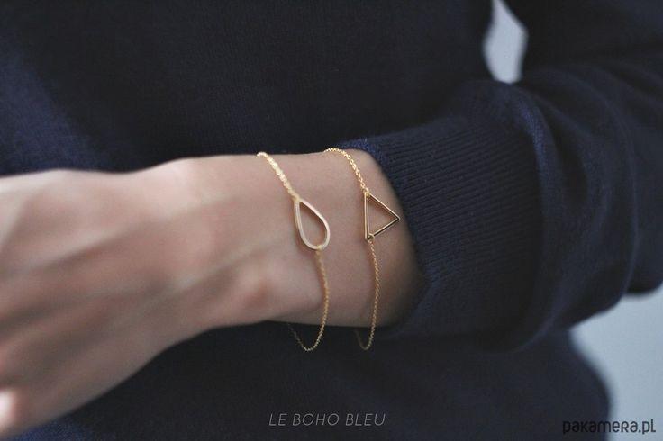 bransoletki - inne-16k Gold Plated Triangle Bracelet