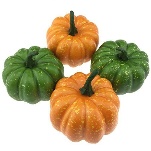 Gresorth 4pcs Artificial Lifelike Simulation Orange  Green Pumpkin Fake Vegetables House Kitchen Party Decoration *** Details can be found by clicking on the image.