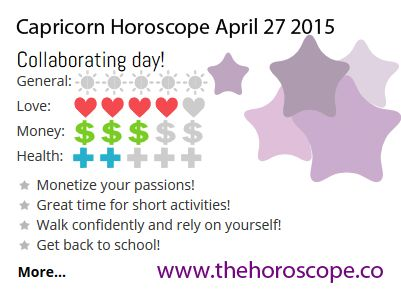 Collaborating day for #Capricorn on April 27th 2015 #horoscope. Come back every day and see your daily prediction! http://www.thehoroscope.co/Capricorn-Horoscope-tomorrow.php