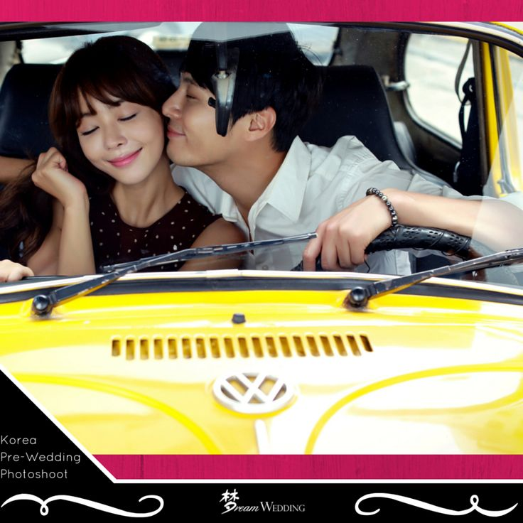 Casual korean pre-wedding photoshoot. Taken in a vintage volkswagen yellow car. Korean pre-wedding photoshoot. Korea studio photoshoot. Dream wedding boutique singapore top bridal wedding planner. For more info, visit www.dreamwedding.com.sg