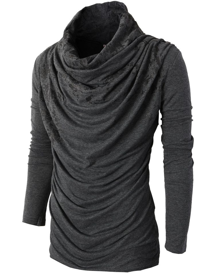 H2H Mens Unique Slim fit Fashionable Designed Shirring Long Sleeve T-shirts | Amazon.com