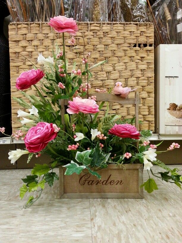 Large Garden Tool Box Made Up For. Mothers Day. Pnks And Cremes With A.  Flower ArrangementFloral ArrangementsBird ...