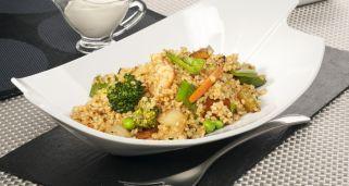 Receta de Wok de bulgur con verduras y gambas
