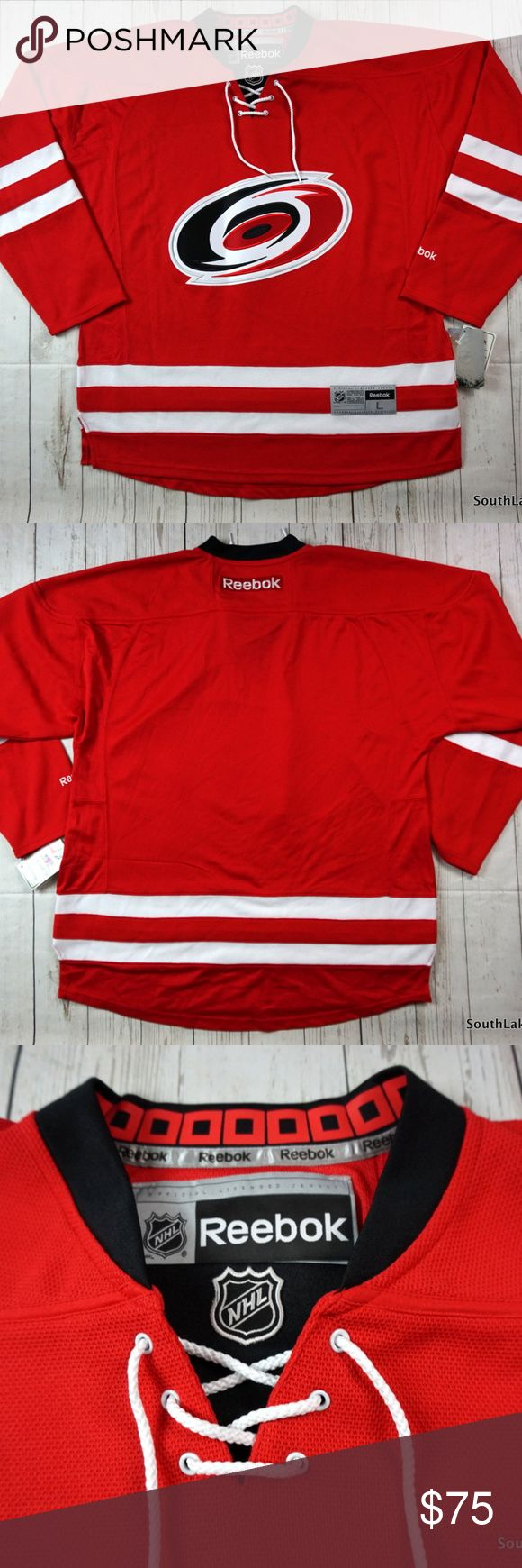 """Carolina Hurricanes NHL Premier Hockey Jersey Sz L Carolina Hurricanes NHL Premier Hockey Jersey Men's Large  REEBOK NHL CAROLINA HURRICANES MEN RED PREMIER JERSEY - SZ XL NWT  Brand New With Tags!  Brand: Reebok Size: Men's Large Material: 100% Polyester  Detailed Measurements: (Front Side of Garment has been measured laying flat on a table)  Measurements  Sleeves:             31.5"""" inches Chest:                 29"""" inches Length:              33.5"""" inches  Ships in 24 hrs or less from a…"""