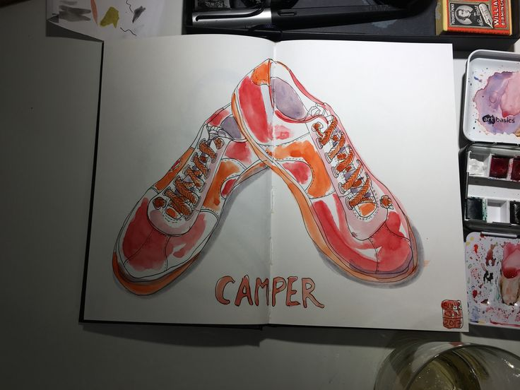 New shoes. New sketchbook. Experimenting with colour