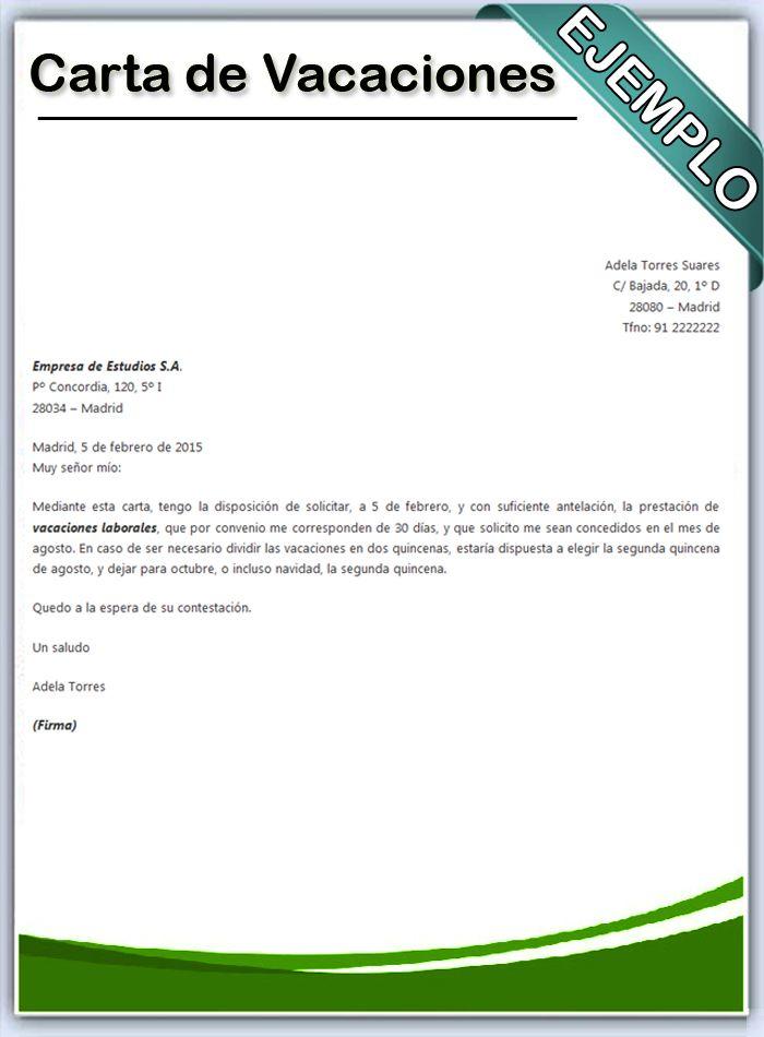 carta de vacaciones  DE INTERES  Chart y Diagram