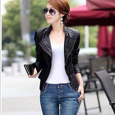 de vrouwen dames 'Koreaanse stijl slanke pu leren jas - EUR € 23.99