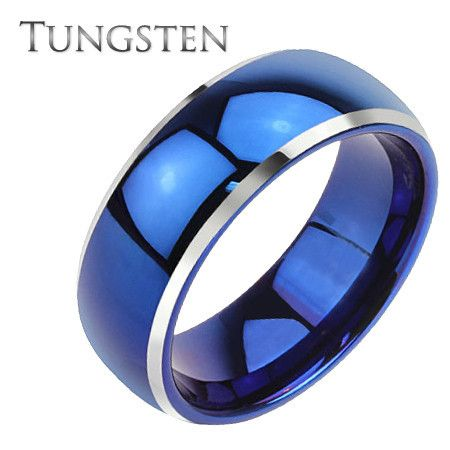Blue Ceremony – Polished Blue IP Solid Tungsten Silver Beveled Edge Dome Wedding Band