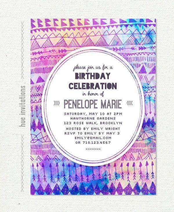 tribal birthday party invitation teen birthday by hueinvitations