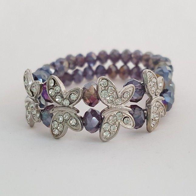 Three C Jewelry - Rhinestone Butterfly Bracelet - $14.95
