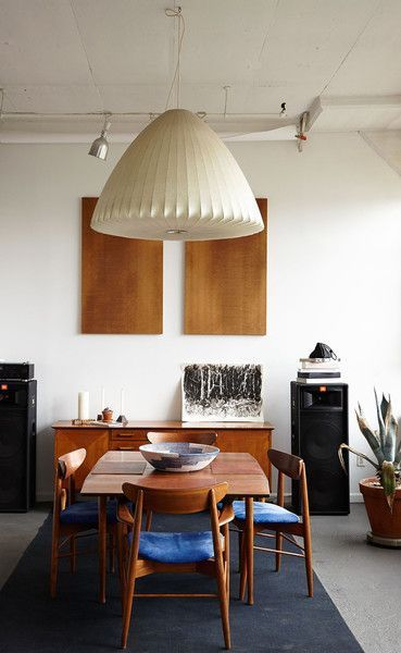 Adam Davidson in Brooklyn: The Scandinavian dining room table and matching chairs were purchased at a thrift store.
