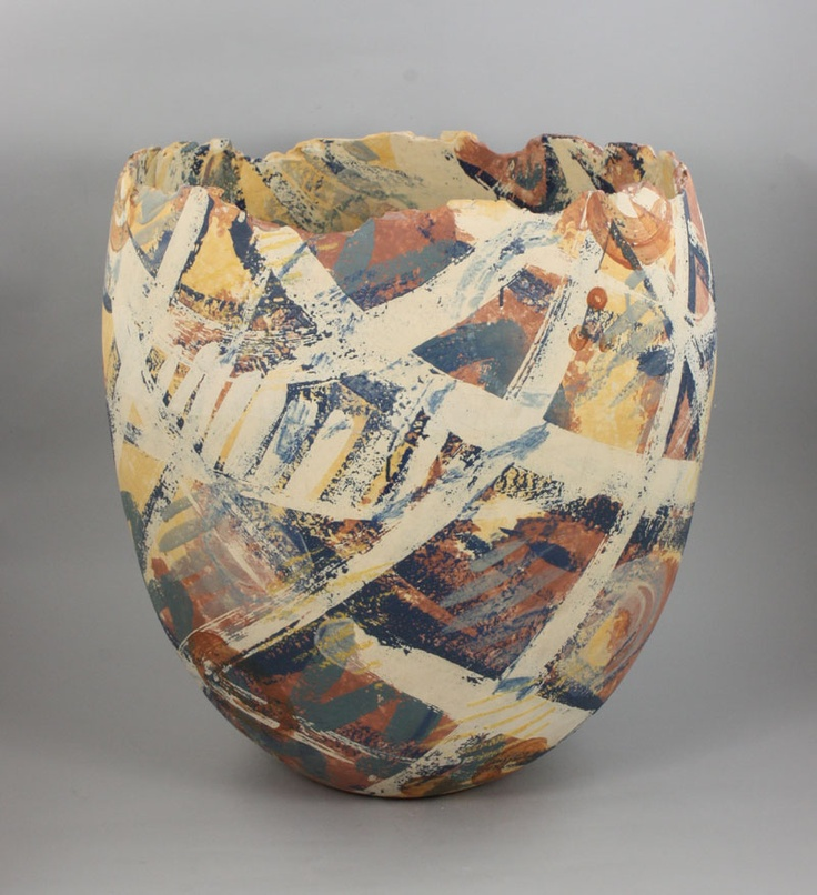 Carolyn Genders (British, b.1957), Large Vessel, circa 1999: Earthenware, cream body with abstract brushed designs in matt yellow, terracotta, blue & green, with ragged rim, incised signature