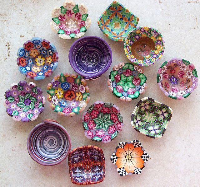 Beautiful little polymer clay bowls to hold odds & ends by K. Hernandez - Polymer Clay Art