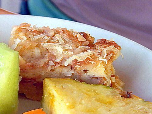 Haupia Macadamia Nut Bread Pudding, Compliments of Shore Bird Beachside BBQ in Waikiki.