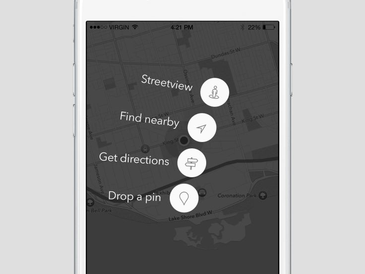 Working on a very cool maps app. Playing with the idea of contextual menus here. Different locations would have different menus.  Don't forget @2x! Press L to show some love :)
