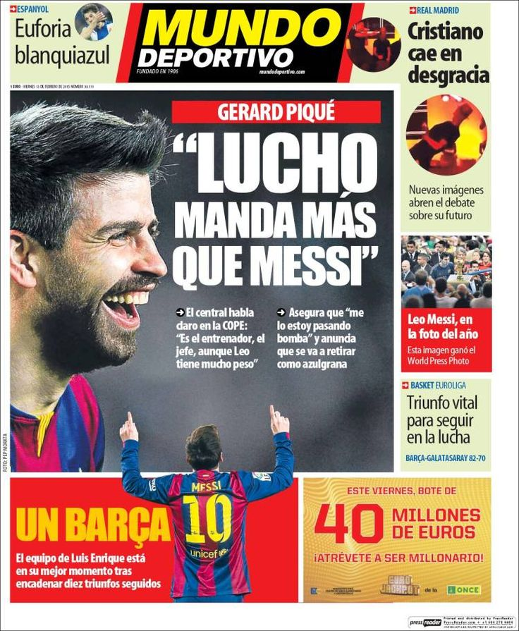 Portada Mundo Deportivo 13/02/2015