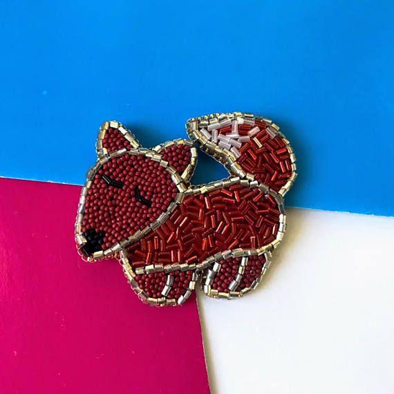 Fox brooch Animal broochChristmas decorBeaded foxXmas