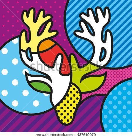 POP ART DEER HEAD modern graphic art for your design https://www.shutterstock.com/g/lilli_jemska?rid=158830&utm_medium=email&utm_source=ctrbreferral-link