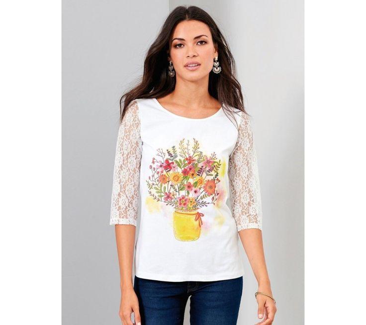 Tričko s potiskem a 3/4 rukávy z krajky   modino.cz #ModinoCZ #modino_cz #modino_style #style #fashion #shirt
