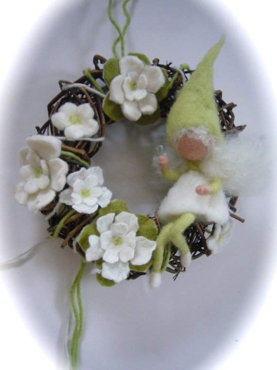 Winter Wreath Fairy   Elf   Needle Felted Waldorf  by FilzArts, $52.00