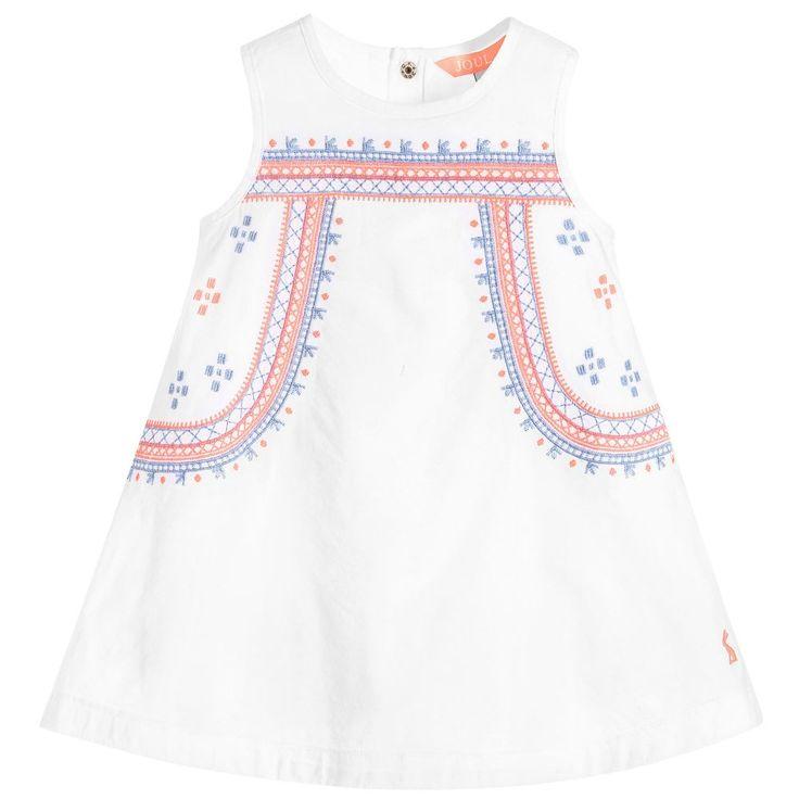 Joules - Baby Girls White 'Bunty' Dress | Childrensalon