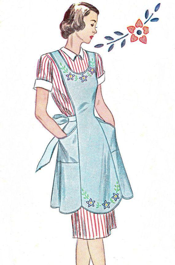 1940s Apron Pattern Simplicity 1794 Hostess Bib by paneenjerez, $16.00
