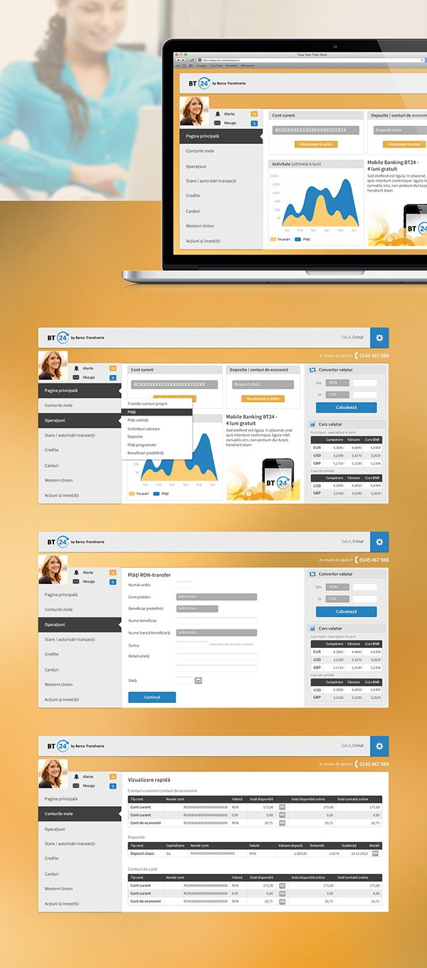Redesign concept for a national home banking app. Web application, account, balance, exchange rate, transfer, depozit, chart, mobile, bank