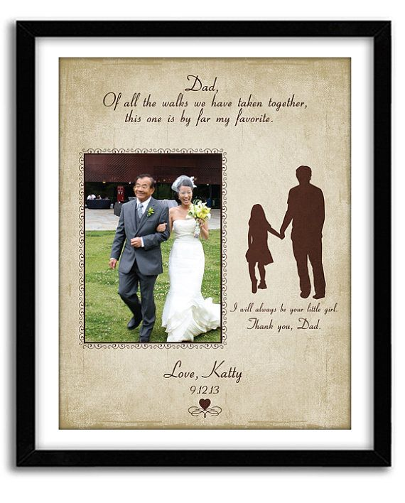 Father of the Bride Gift Thank you Wedding gift, Of all the walks, Personalized Wedding Gift Parents of Bride Custom Print 11x14 with Photo on Etsy, $36.00