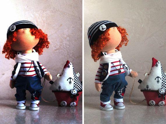 Junge Puppe russische Puppe Winter Puppe handgefertigten Puppe Stoff Puppe Tilda Puppe blau Puppe Textil Puppe weiche Puppe Stoff Puppe Art Doll Master YuliaG