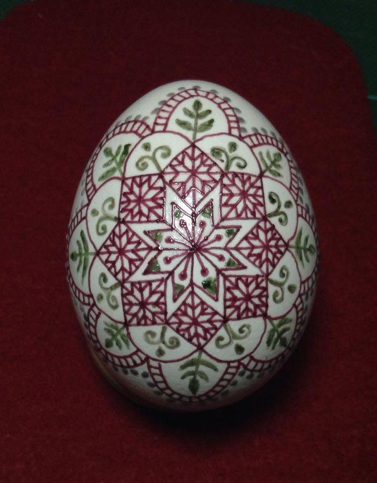 Lovely Romainian 'like' pysanka, done by leaving colored wax on the egg, by Yukika Wada san, Pysanky Japan