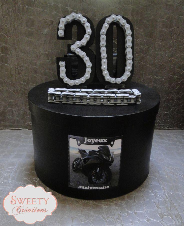 Urne pour un anniversaire sur le thème de la moto. Card box for a birthday with motorbike theme