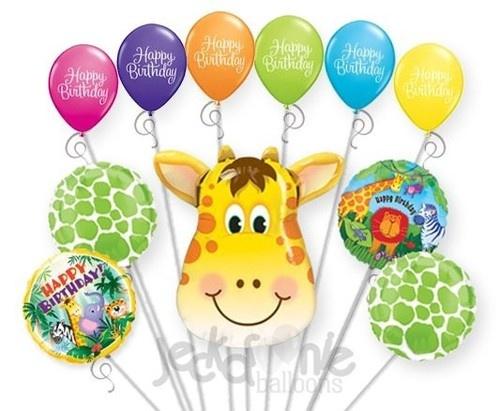 11pc Jolly Giraffe Happy Birthday Balloon Decoration Party Jungle Zoo Animal   eBay