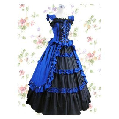 Black bandage cotton classic Lolita dress and royal blue