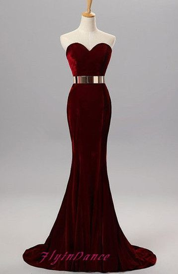 Modest Mermaid Dark Burgundy Red Prom Dress 2016 Long Prom Dresses Fitted Sexy Evening Gowns