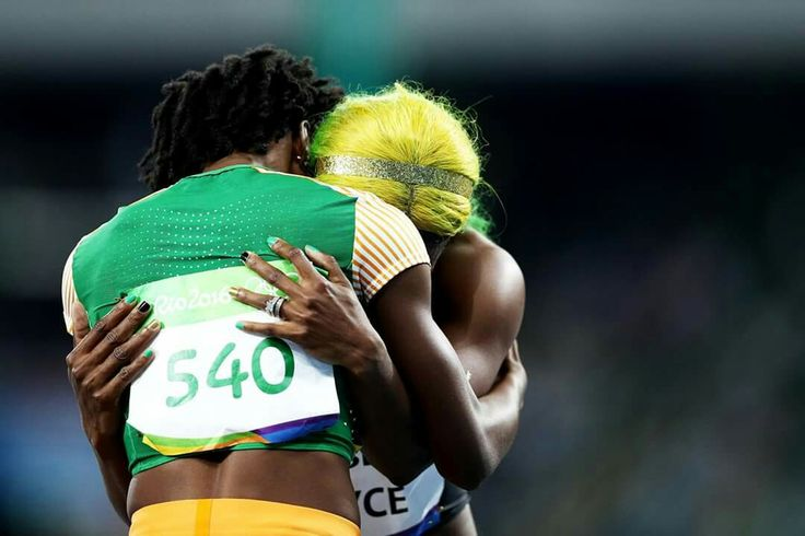 RIO DE JANEIRO, BRAZIL - AUGUST 13: Shelly-Ann Fraser-Pryce (R) of Jamaica is congratuled by Marie-Josee Ta Lou of the Ivory Coast in the Women's 100m Semi final on Day 8 of the Rio 2016 Olympic Games at the Olympic Stadium on August 13, 2016 in Rio de Janeiro, Brazil. (Photo by Paul Gilham/Getty Images) — in Rio de Janeiro, Brazil.