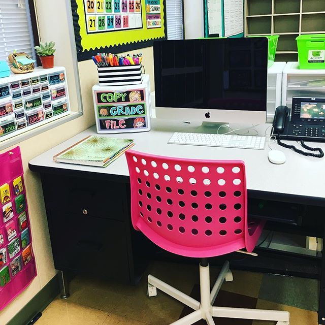 Teacher tip: Use containers to keep your desk area clean and organized.