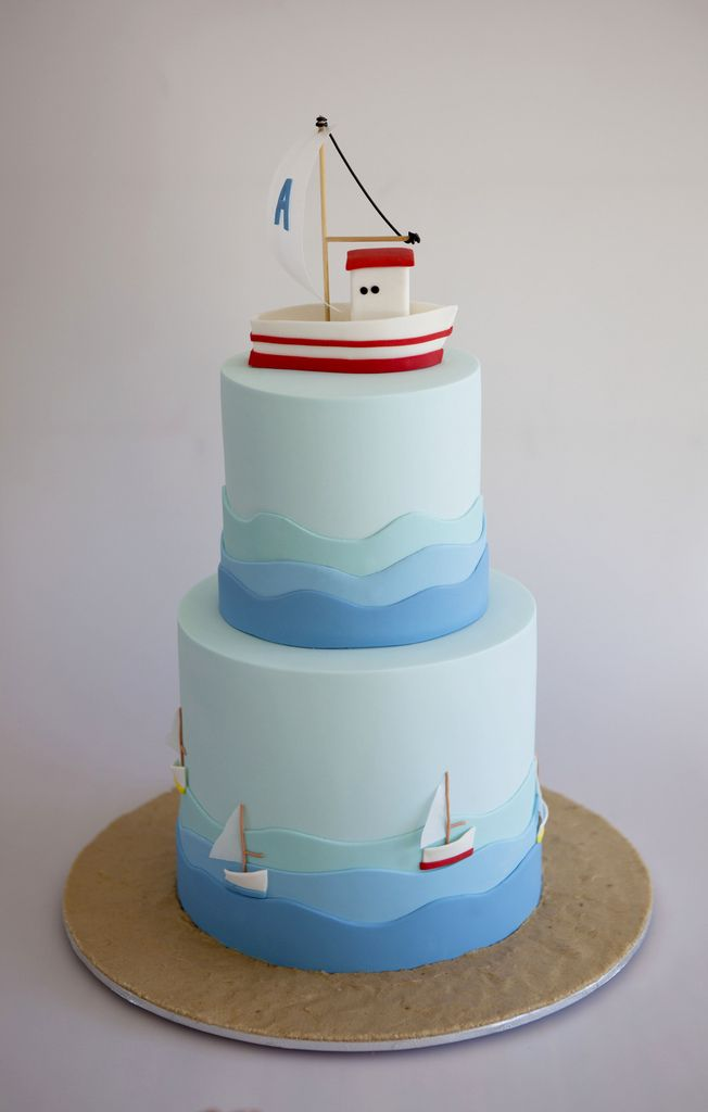 Made for a family member to mark the Christening oif their little boy, this cake stood almost 16″ high. This towering cake was  accented with a little boat which was …