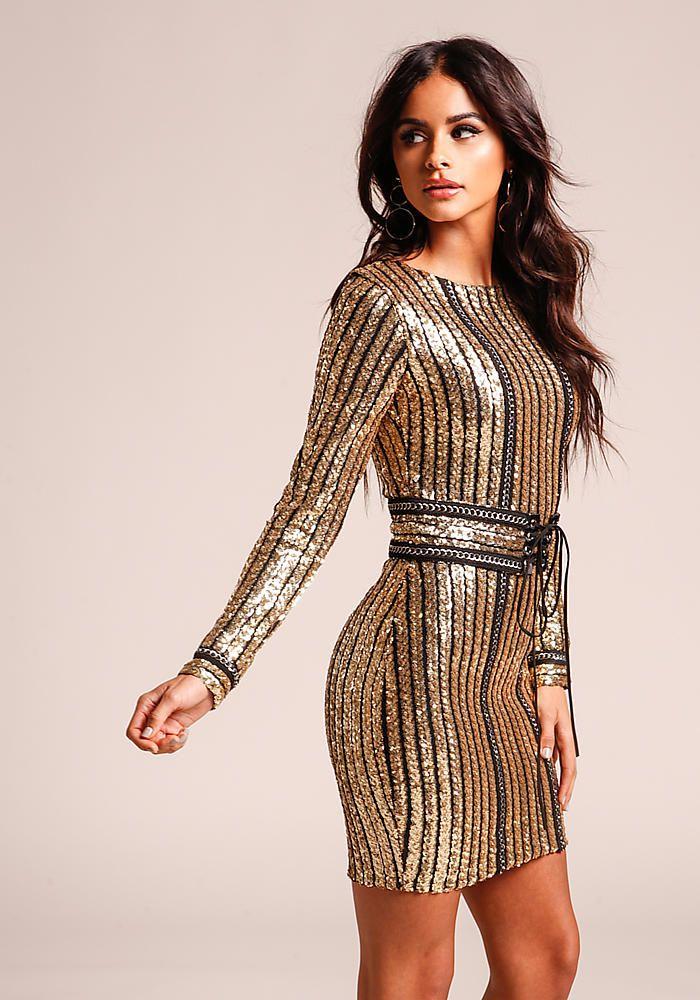 db2da6590bc41 Gold Sequin & Chain Bodycon Dress with Corset Belt - Dresses | Hot ...