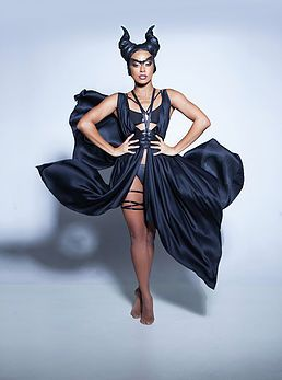 Emma Capponi: Costume designer in Berlin has made this dance costume, featuring silk gown, and fetish inspired elastic lingerie.