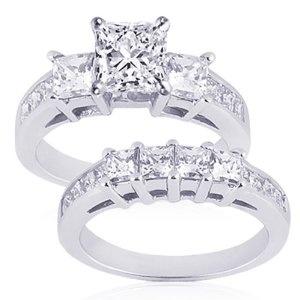 princess cut wedding ring sets - Princess Cut Diamond Wedding Ring Sets