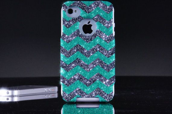 Otterbox iPhone 4 / 4S Case  - Glitter Wintermint/Smoke Custom Small Chevron Pattern Mint Otterbox Case for iPhone 4S on Etsy, $49.99