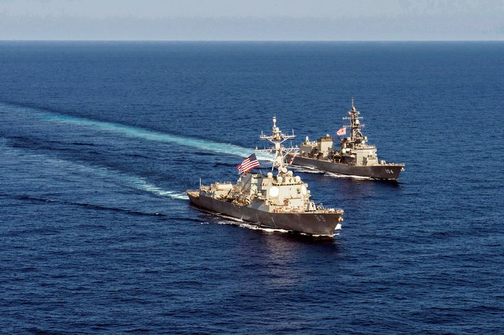 https://flic.kr/p/rqGDdr | Mustin and Kirisame | Edited USN image of the USS Mustin in formation with the JS Kirisame. Original caption: 150421-N-ZZ786-401 SOUTH CHINA SEA (April 21, 2015) Arleigh Burke-class guided-missile destroyer USS Mustin (DDG 89) transits in formation with Japan Maritime Self-Defense Force ship JS Kirisame (DD 104) during bilateral training. Mustin is on patrol in the 7th Fleet area of responsibility in support of security and stability in the Indo-Asia-Pacific…