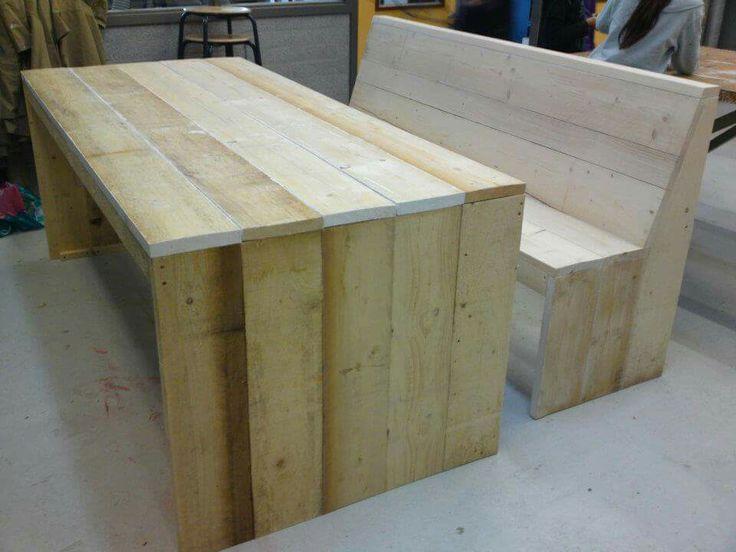 Tafel + bank van steigerhout