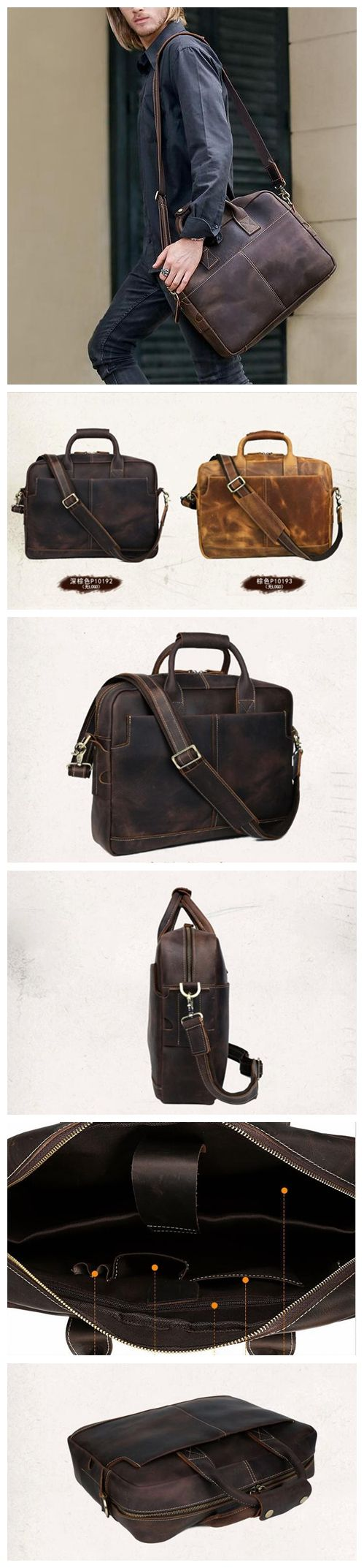 Men's Leather Retro Briefcase Laptop Sleeve Shoulder Bag