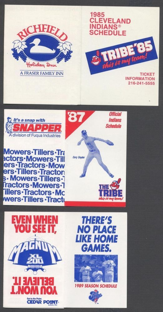 1989 cleveland indians mlb baseball pocket schedule from $1.99