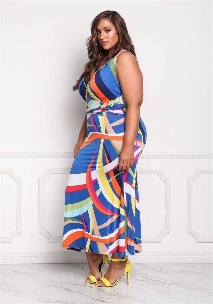 Plus Size Clothing | Plus Size Multi Colored Maxi Dress | Debshops ...