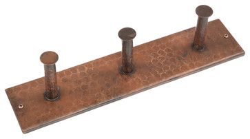 Hand Hammered Copper Triple Robe Hook rustic-robe-and-towel-hooks